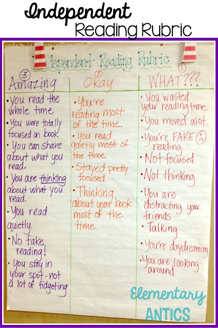 Make an Independent Reading Rubric with your class at the beginning of the year to set the expectations for independent reading time.