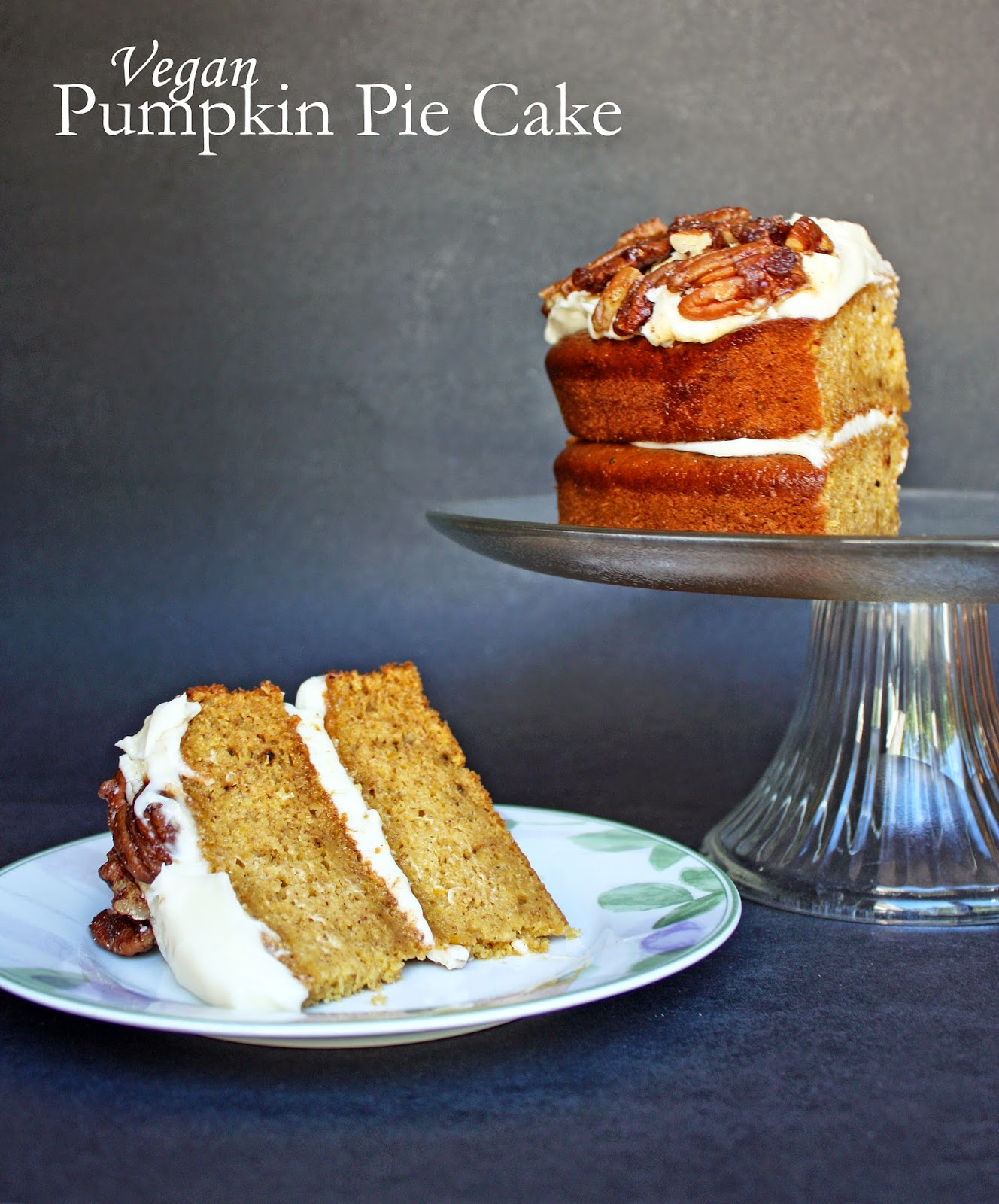 vegan pumpkin pie cake with cream cheese frosting and candied pecans