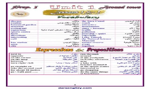 اهم مذكرة في اللغة الانجليزية للصف الثالث الاعدادى ترم اول 2022 المنهج الجديد اعداد مستر محمد صلاح