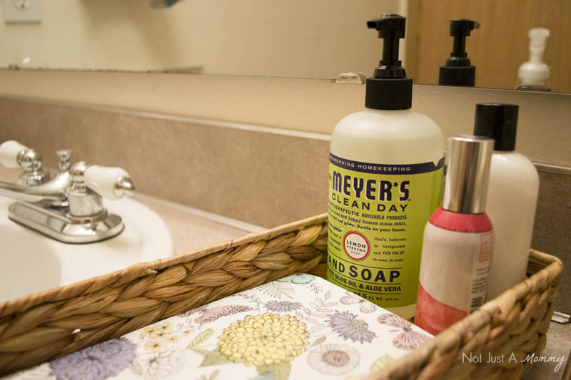 5 Tips To Prepping Your Home For Spring Entertaining; prep your powder room with Mrs. Meyers' hand soap
