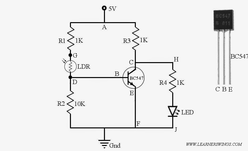 light relay switch by bc547 amp bc337