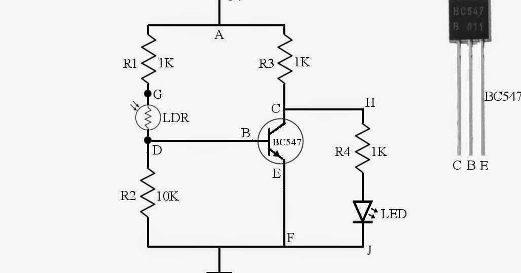 circuit to turn on an led during night