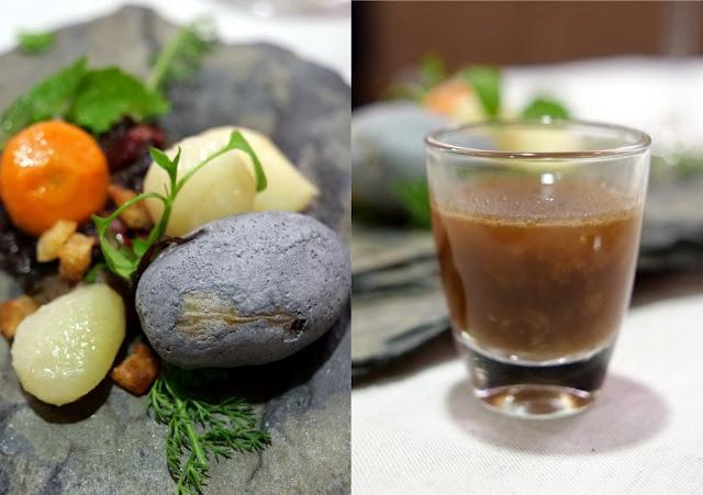 ariation von Humus und Kiesel gebildet aus Wurzelgemüse und Kartoffel in Kieselstein-Optik, Trüffel-Pilzcreme und Weinbergssprossen sowie einem Umami-Tee.