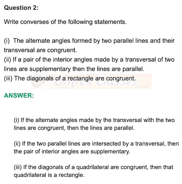 Chapter 1 - Basic Concepts In Geometry, Mathematics Part II Solutions for Class 9 Math, Practice Set 1.3,