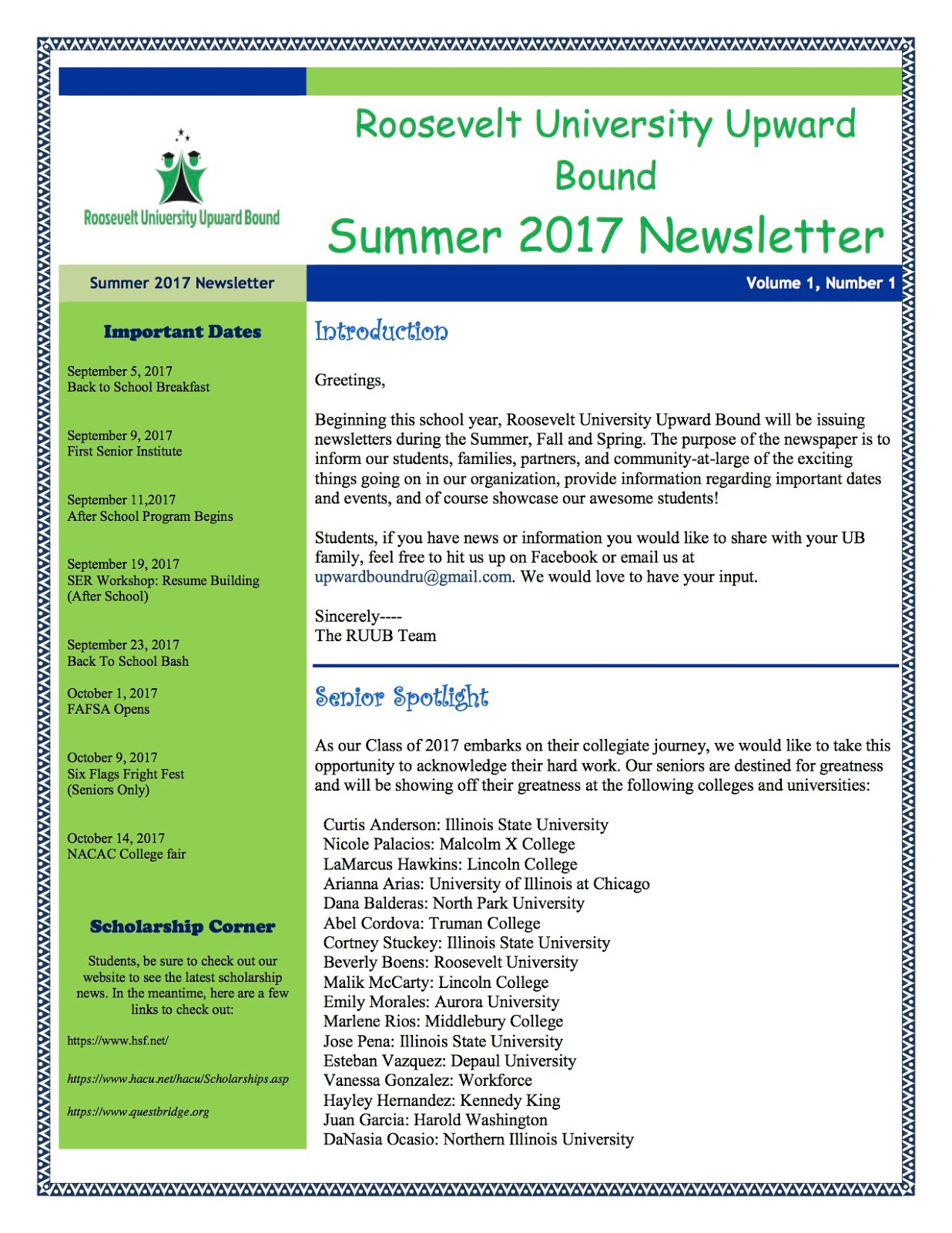 Roosevelt University Email >> Everything Coe Ru Upward Bound Launches Newsletter