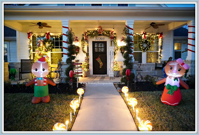 Cottage- Farmhouse -Christmas- Porch-Lighted-Pathway-Gingerbread-Boy-Gingerbread-Girl-Ribbon-Wrapped-Columns -From My Front Porch To Yours
