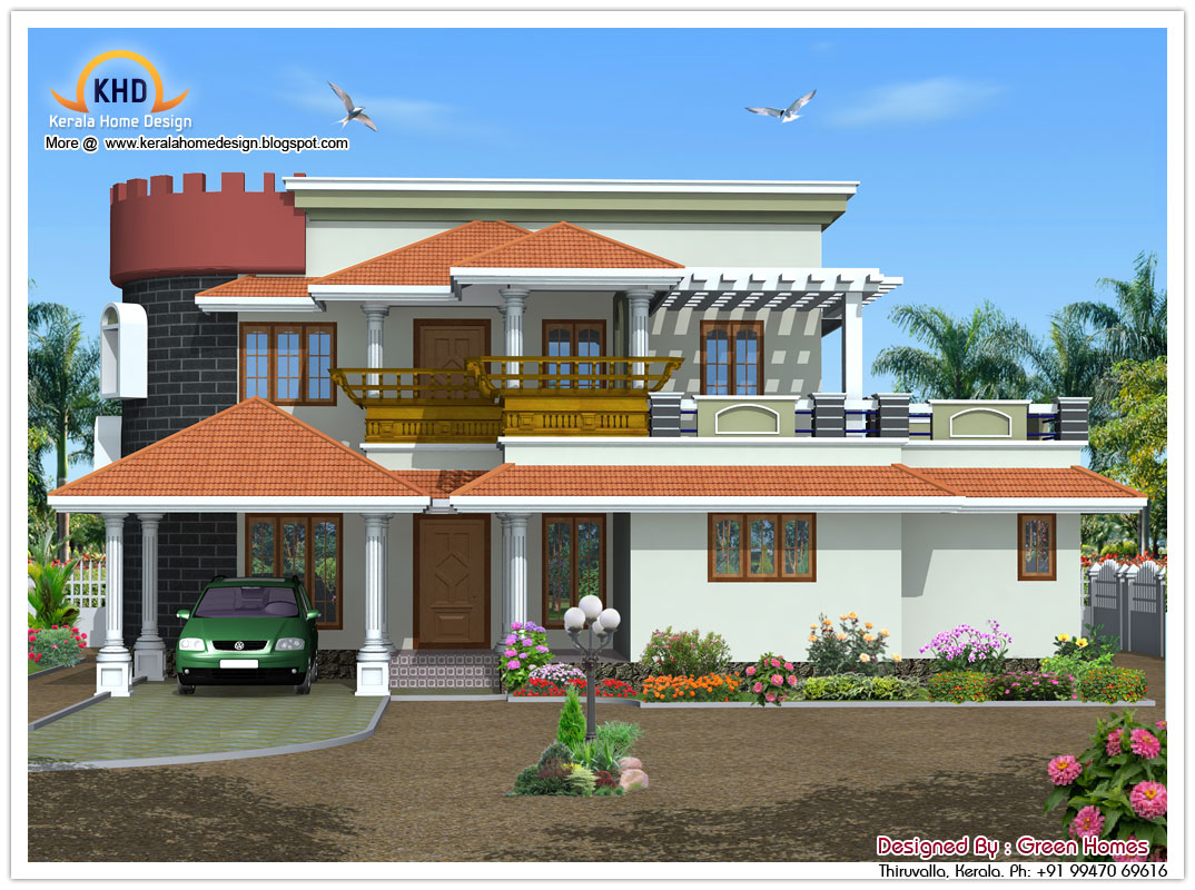Kerala style house architecture 2390 sq ft kerala home for Front view of duplex house in india
