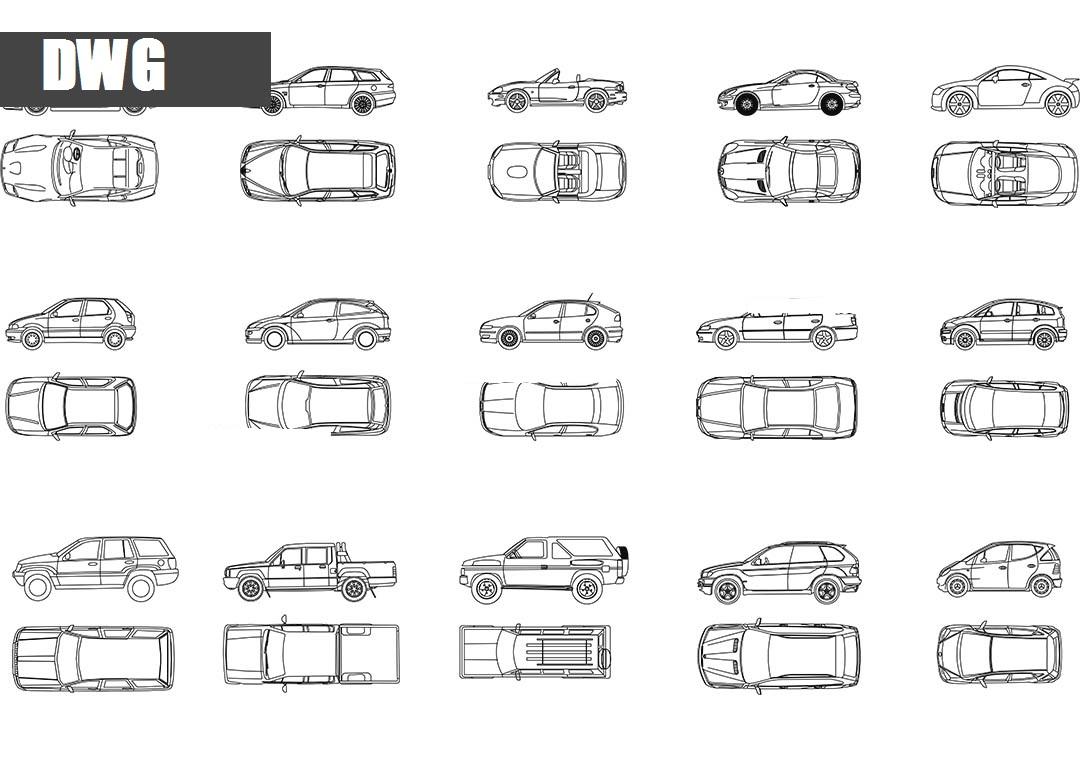 Extremement voitures plan et elevation blocs AutoCad DWG DW-45