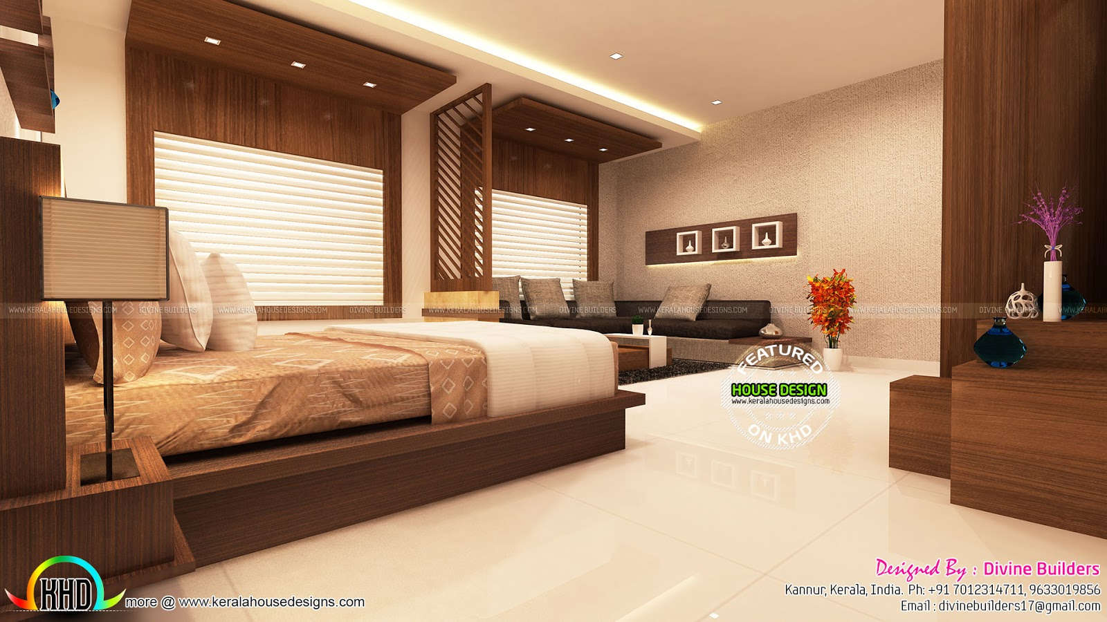 Master bedroom and living room interior - Kerala home ...
