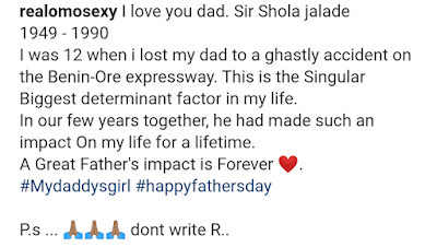 Omotola Jalade-Ekeinde's father's day message to her late father
