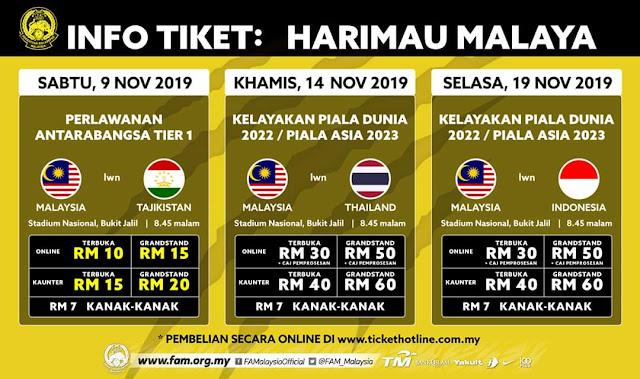 Harga Tiket Malaysia vs Tajikistan Friendly Match 9.11.2019