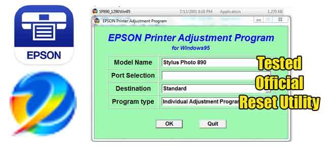 Epson Stylus Photo 890 Adjustment program (Reset Utility) Free Download