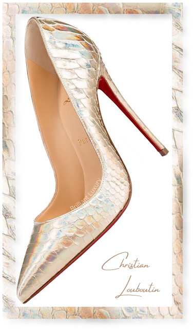 Christian Louboutin So Kate shiny gold python snakeskin pumps #brilliantluxury