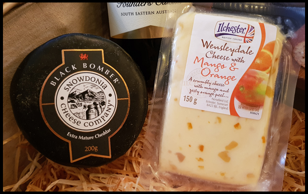 Cheeses in the wine, pate and cheese luxury hamper from Hamper.com