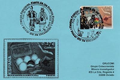 tarjeta, matasellos, sello, Huevos Pintos, filatelia, Pola de Siero