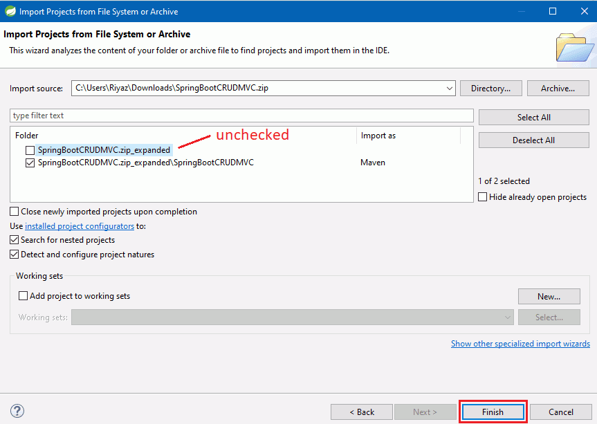 uncheck the SpringBootCRUDMVC.zip_expanded checkbox