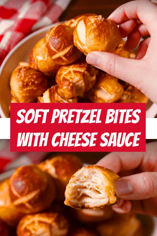 Soft Pretzel Bites With Cheese Sauce #easyrecipe #pretzels #bites #softpretzel #bread #appetizers
