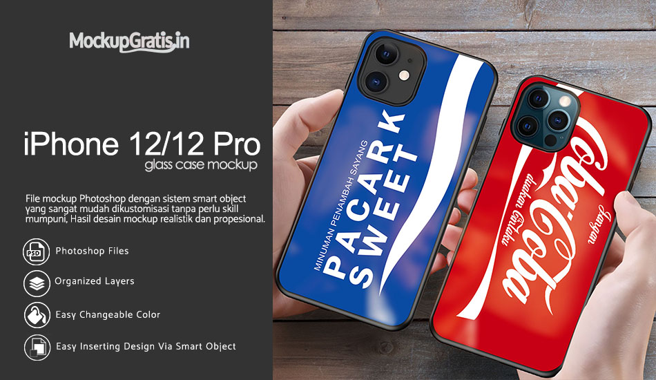 Mockup Glass Case Custom iPhone 12/12 Pro Gratis