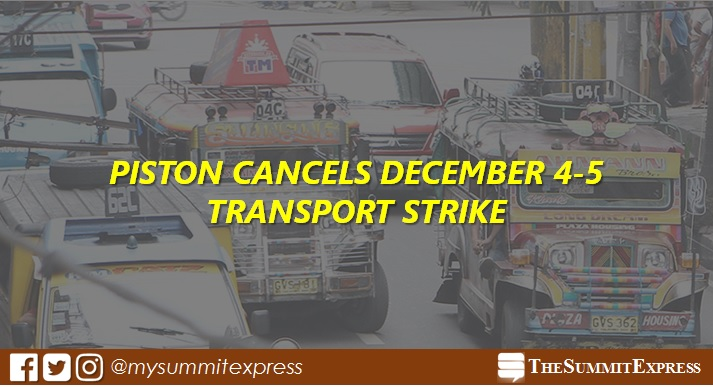 PISTON cancels December 4 and 5 transport strike