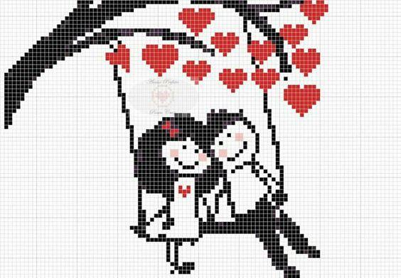 Dia dos Namorados Especial Em Ponto Cruz Com Gráficos45