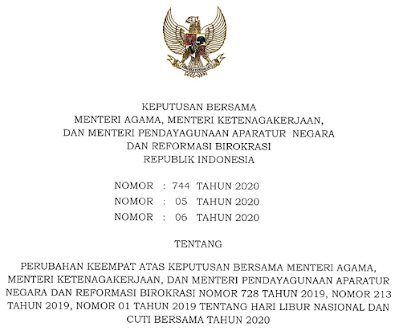 Perubahan Keputusan Bersama 3 Kementerian Tentang Libur dan Cuti Bersama Tahun 2020
