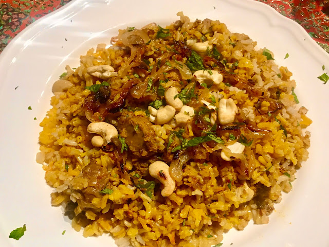 UAE lamb biriani with fried onions and cashew nuts