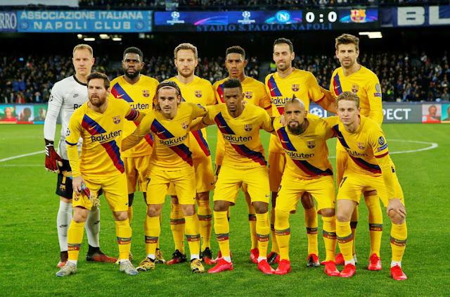 F. C. BARCELONA. Temporada 2019-20. Ter Stegen, Umtiti, Rakitic, Junior, Busquets, Piqué. Messi, Griezmann, Semedo, Arturo Vidal, Grierzmann. S. S. C. NAPOLI 1 F. C. BARCELONA 1. 25/02/2020. Liga de Campeones de la UEFA, octavos de final, partido de ida. Nápoles, Italia, estadio San Paolo: 44.388 espectadores. GOLES: 1-0: 30', Mertens. 1-1: 57', Griezmann.