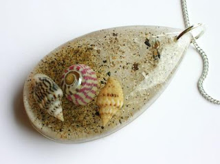 Ashes pendant with sand and shells