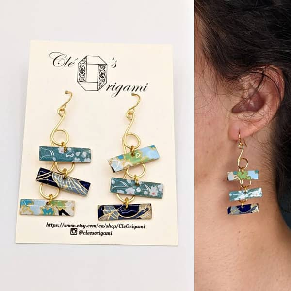 Japanese patterned paper dangle earrings in shades of blue