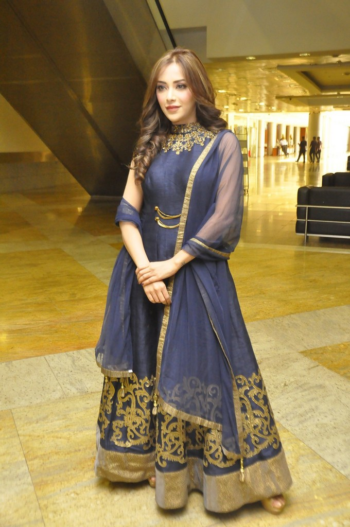 Telugu Model Angela In Blue Dress At Hi Life Exhibition Curtain Raiser