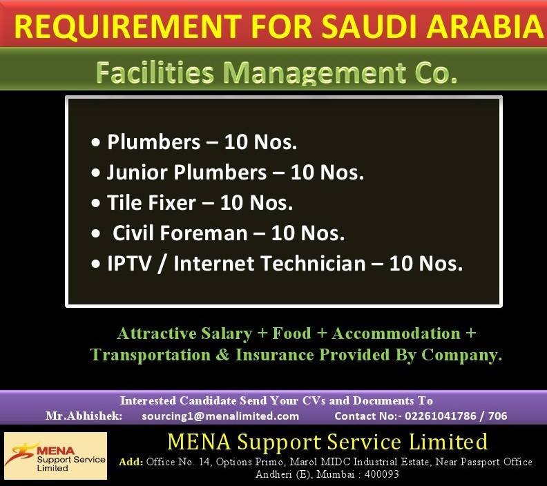 Requirement for Saudi Arabia-Facilities Management co