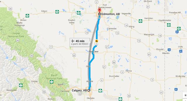 Viagem de carro de Calgary a Edmonton