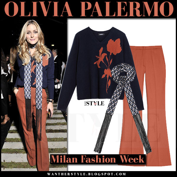 Olivia Palermo in dark navy sweater, burnt orange wide leg trousers and skinny scarf max and co what she wore front row