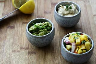 Mango salsa, Guacamole, sour cream