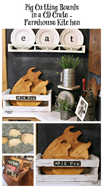 Thrift Shop Pig Cutting Boards in a CD Crate (Pen) www.organizedclutter.net