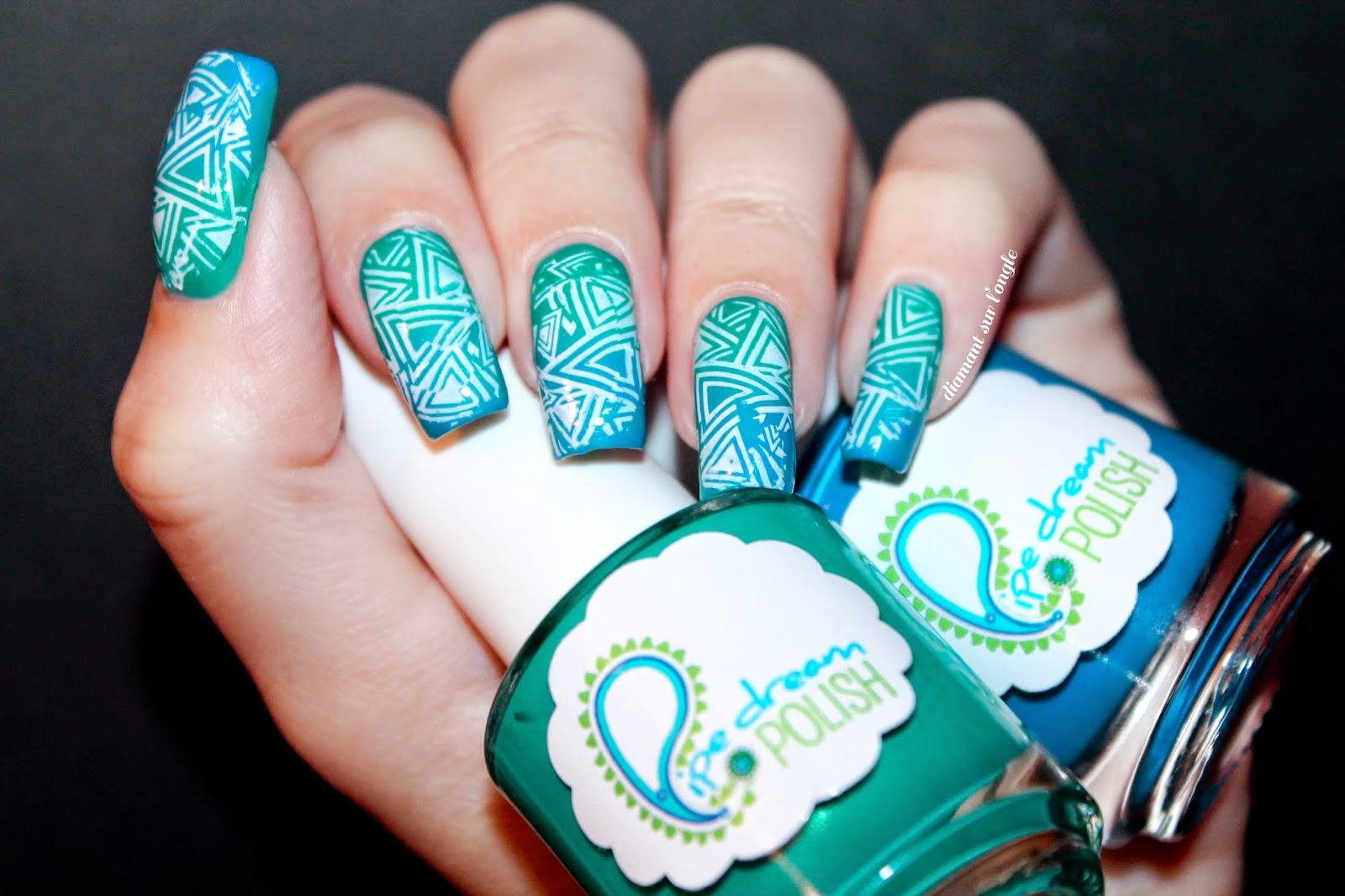 teal neon gradient nail art and white stamping