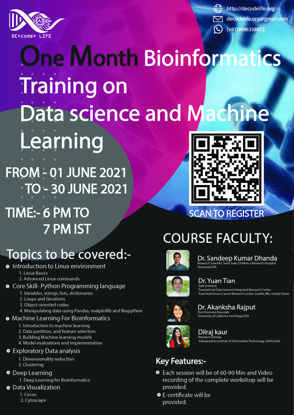Decodelife.org One-month Workshop Bioinformatics Training program on Data Science and Machine Learning | June 1 to June 30, 2021