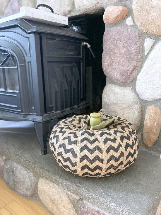Chevron burlap pumpkin on hearth