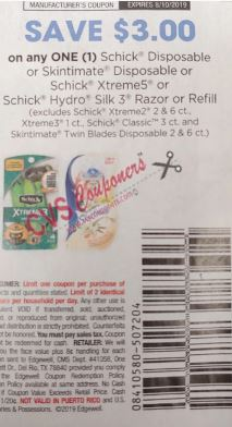 """$3.00/1 Schick Disposable Or Skintimate Disposable or Schick Xtreme5 or Schick Hydro Silk 3 razor or refill """"limit 2"""" Coupon from """"SMARTSOURCE"""" insert week of 7/21 (EXP:8/10)."""