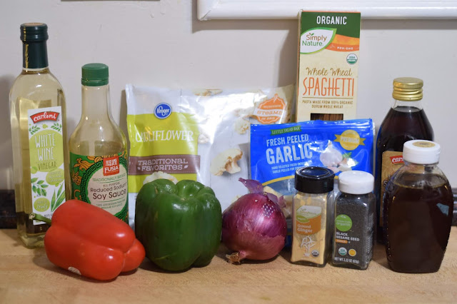The ingredients needed to make the Vegan Kung Pao Cauliflower with Noodles Recipe.