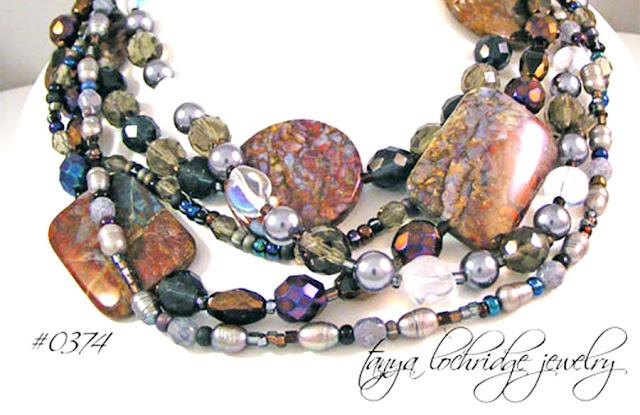 Tanya Lochridge Jewelry Pietersite & Pearl Five-Streand Gemstone Necklace