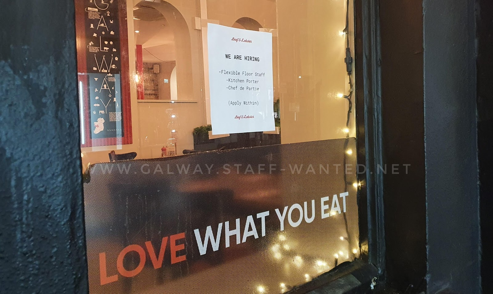 Beef and Lobster restaurant window in Galway city - Love what you eat