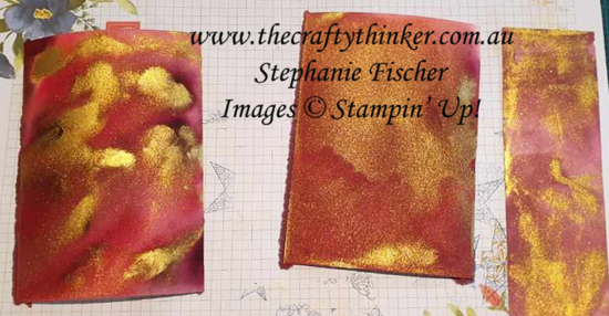 #thecraftythinker #stampinup #cardmaking #christmascard #goldwatercolorbackground , watercolour background with Gold Glitz, Christmas card, Beautiful Boughs, Frosted Bouquet, Stampin' Up! Australia Demonstrator, Stephanie Fischer, Sydney NSW