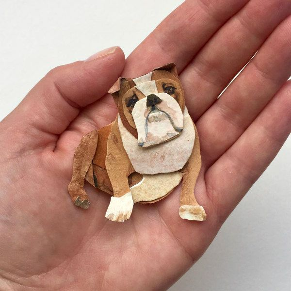 watercolor and layered cut paper English bulldog