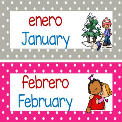 Bilingual Months of the Year Header