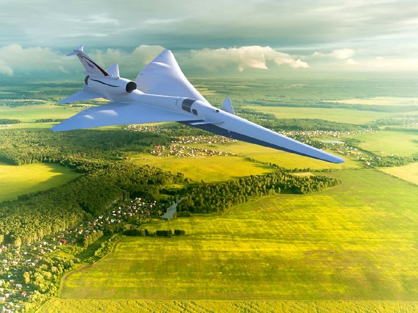 An artist's concept of NASA's X-59 QueSST aircraft flying over a rural community in the United States.