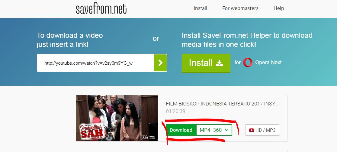 Download video youtube dengan Savefrom