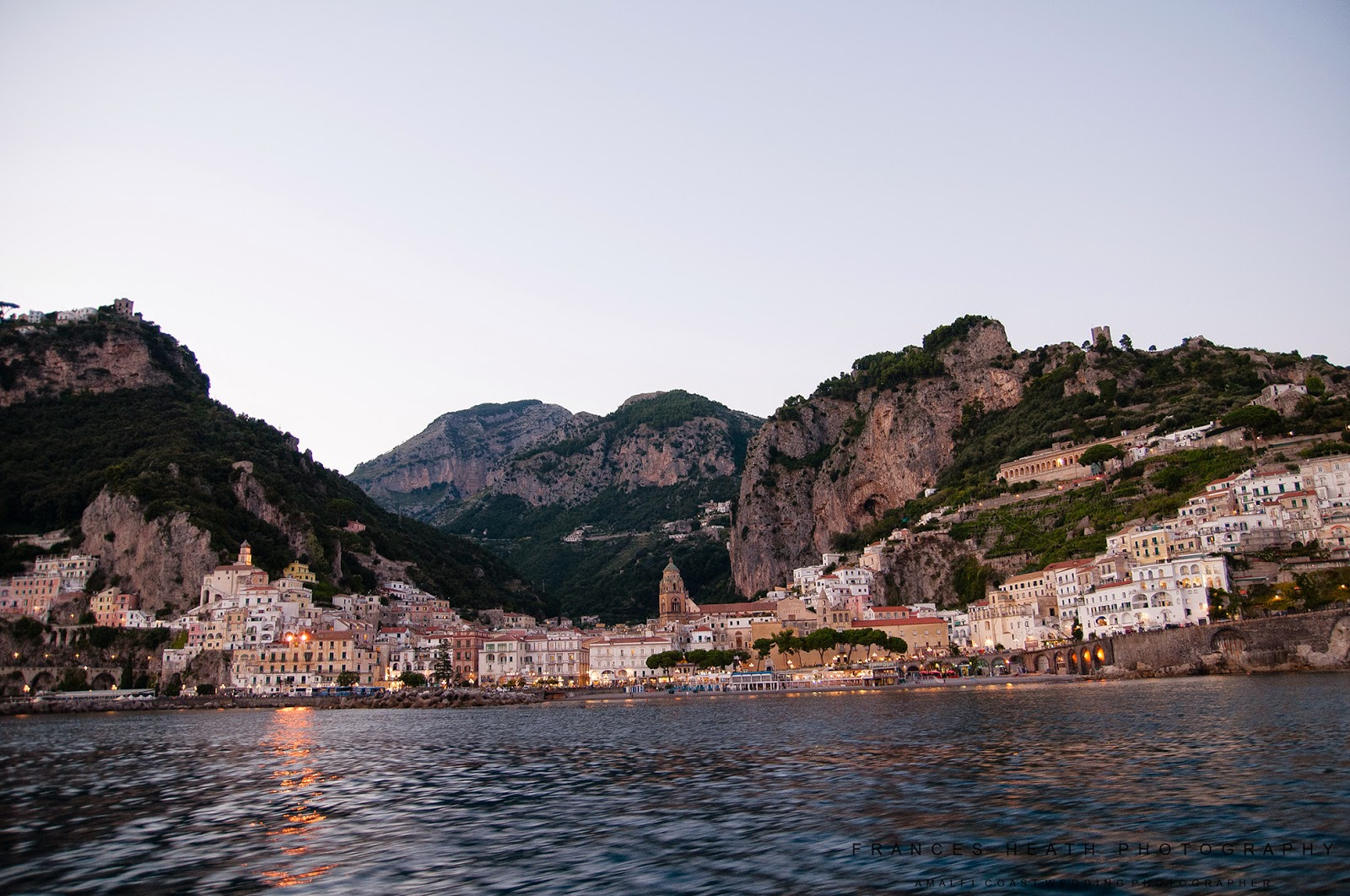 View of Amalfi during the wedding boat cruise