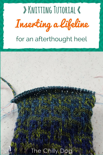 Knitting afterthought heels is much easier when you insert a lifeline through the stitches you will work later