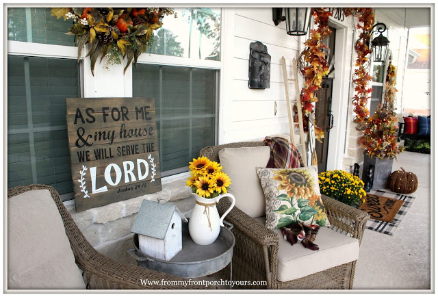 Fall- Front -Porch-Farmhouse-Cottage Style-Sunflowers-From My Front Porch To Yours